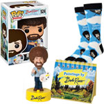Bob Ross: Women's socks + Bobblehead + Pop vinyl figure