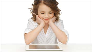 girl watching ipad