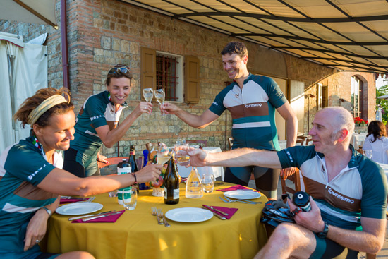 cyclists toasting